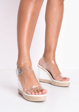 Perspex Platform Espadrille Wedge Sandals White