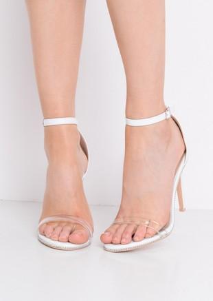 Perspex Strap Heeled Sandals White