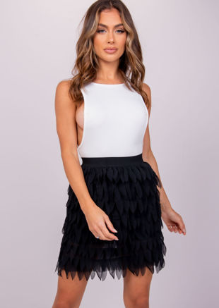 Feather Layered Mesh Mini Skirt Black