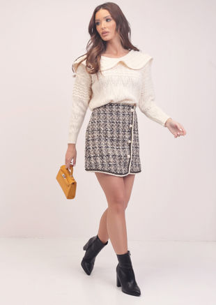 Plaid Tweed Sequin A Line Pearl Button Mini Skirt Beige