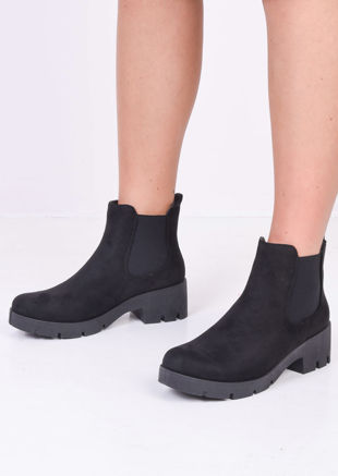 Platform Cleated Heel Suede Chelsea Ankle Boots Black