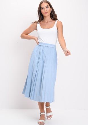 Pleated Denim Midi Skirt Light Blue