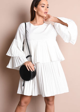 Pleated Frill Mini Smock Dress White