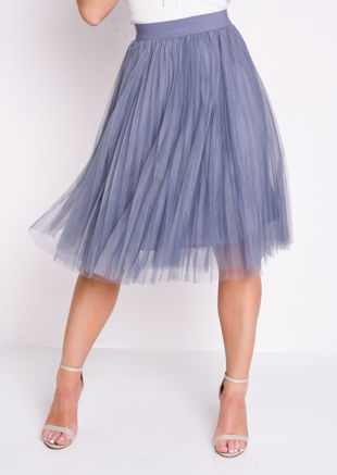 Pleated High Waisted Tulle Mesh Skirt Grey