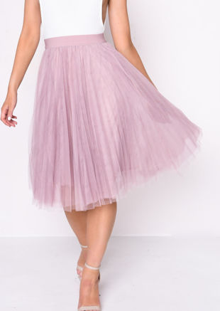 Pleated High Waisted Tulle Mesh Skirt Pink