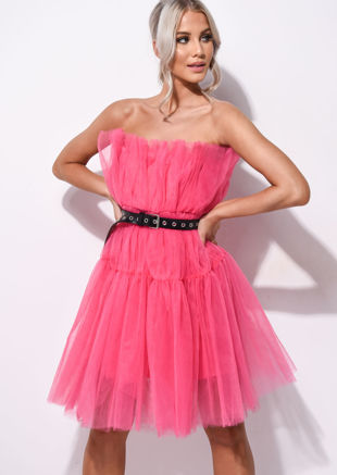 Pleated Strapless Tulle Mini Dress Hot Pink