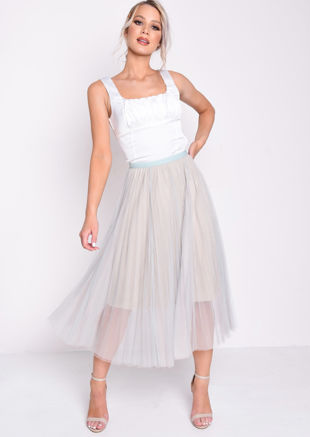 Pleated Tulle Mesh Midi Skirt Green