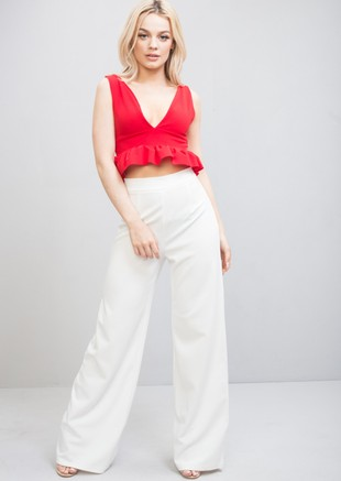 Plunge Frill Peplum Crop Top Red