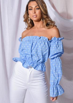 Polka Dot Frill Bardot Tiered Sleeve Crop Top Blue