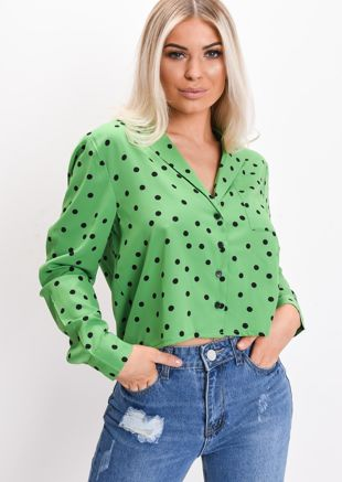 Polka Dot Long Sleeve Cropped Pyjama Shirt Green