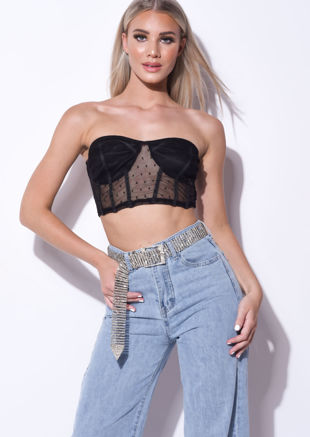 Polka Dot Mesh Cup Crop Top Black