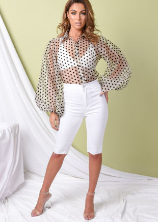 Sheer Polka Dot Organza Blouse Top Beige
