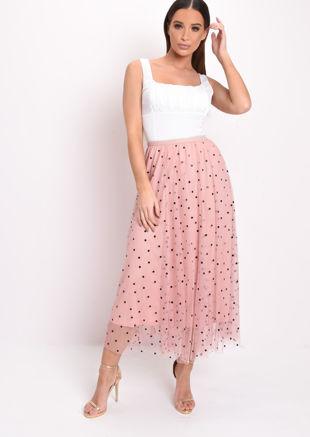Polka Dot Tulle Mesh Midi Skirt Pink
