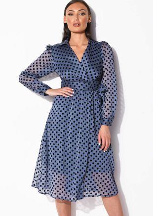 Polka Dot Wrap Over Midi Dress Blue
