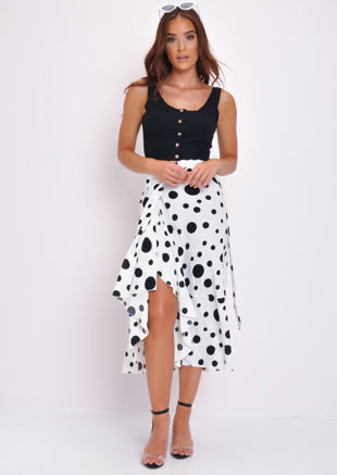 Polka Dot Wrap Ruffle Midi Skirt White