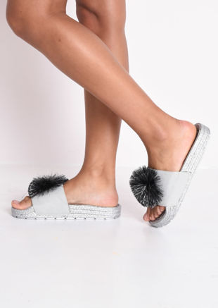 Pom Pom Cleated Sole Platform Slides Silver