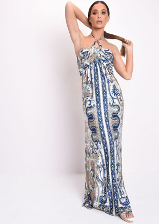 Printed Halterneck Maxi Dress Blue