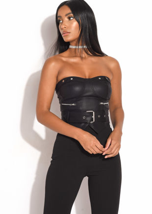 PU Belted Corset Top Black