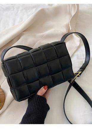 PU Braided Padded Crossbody Purses Box Bag Black
