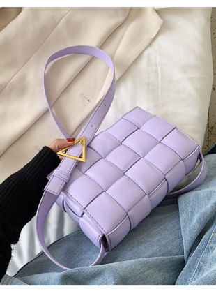 PU Braided Padded Crossbody Purses Box Bag Purple