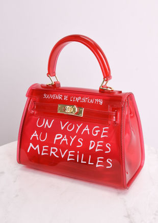 PU Clear French Tote Bag Red