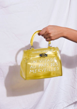 Clear French Tote Bag Yellow