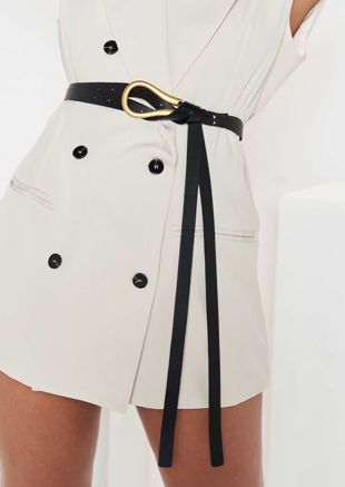Pu Double Strapped Metal U Shaped Buckle Belt Black
