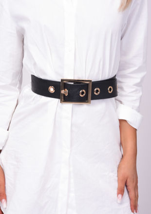 Faux Leather Chunky Wide Square Buckle Belt Black