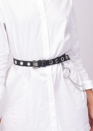 Pu Faux Leather Eyelet Chain Loop Belt Black