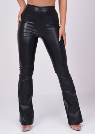 Pu Faux Leather High Waisted Flared Trousers Black