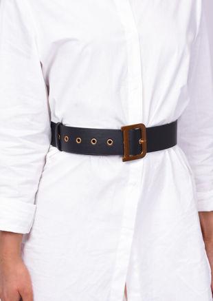 Pu Faux Leather D Square Buckle Belt Black