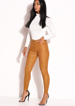 PU High Waisted Stretch Skinny Jeans Mustard Yellow