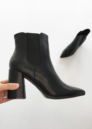 Pu Pointed Toe Block Heeled Chelsea Ankle Boots Black