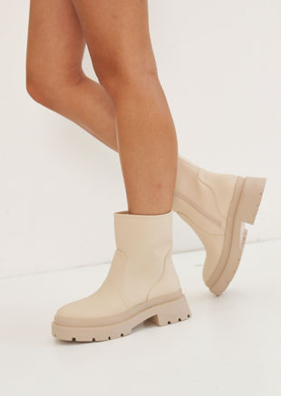 Rubberised Chunky Cleated Wellie Ankle Boots Beige