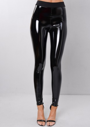 PU Vinyl Skinny High Shine Legging Trousers Black