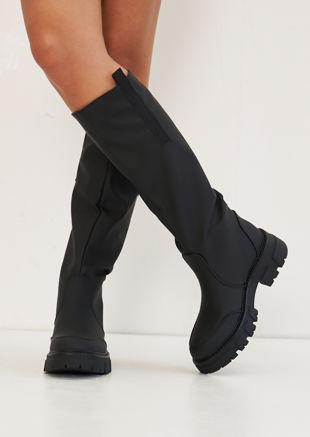 Pull On Rubberised Cleated Knee High Rain Boots Black