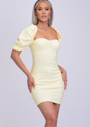 Puff Frill Shoulder Bodycon Mini Dress Yellow