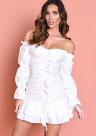 Puff Sleeve Frill Hem Mini Dress White