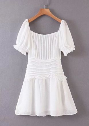 Puff Sleeve Lace Up Skater Dress White