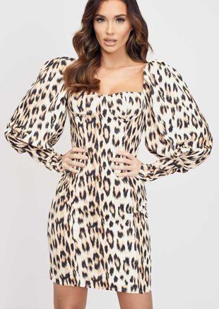 Puff Sleeve Leopard Print Mini Dress Beige