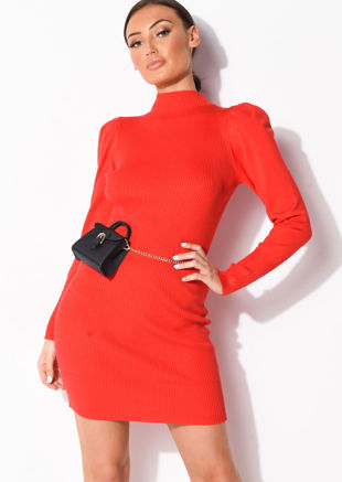 Puff Sleeve Ribbed Knit High Neck Jumper Dress Red