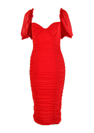 Puff Sleeve Square Neckline Cupped Ruched Midi Dress Red
