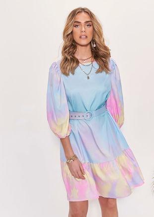 Puff Sleeved Tiedye Print Buckle Belted Midi Dress Multi