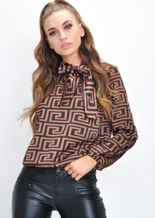 Pussybow Geometric Pattern Blouse Black