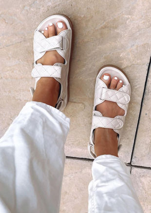 Quilted Adjustable Double Strapped Chunky Flat Sandals Beige