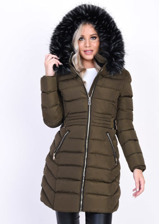 Quilted Faux Fur Hooded Belted Longline Puffer Coat Khaki Green