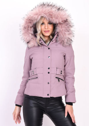 Quilted Faux Fur Hooded Belted Puffer Coat Pink