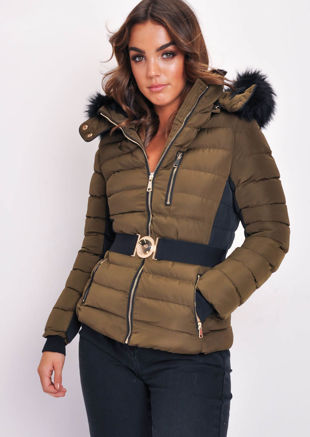 Belted Black Back Panel Padded Coat Khaki Green