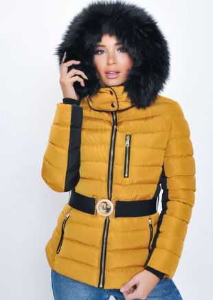 8c1389147d5 Quilted Faux fur Hooded Padded Belted Panel Puffer Coat Mustard Yellow