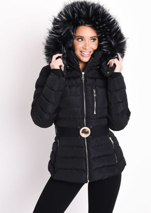 Quilted Faux fur Hooded Padded Belted Puffer Coat Black